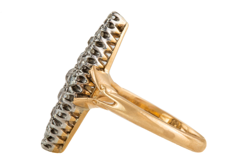 Victorian 18ct Gold Platinum Diamond Navette Ring, (0.75ct-1.00ct)