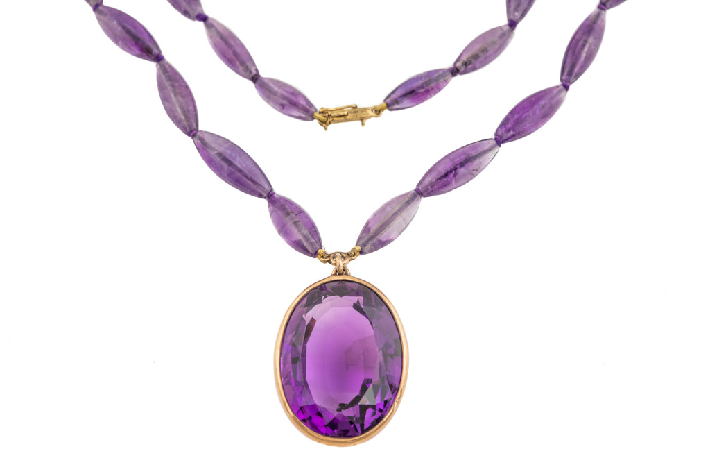 Rare German Art Deco Gold Amethyst Necklace (172.70ct), 23""