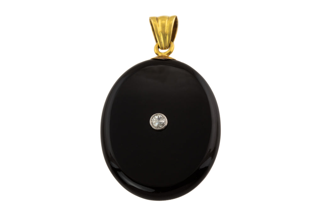 Victorian 15ct Gold Onyx Diamond Shaker Locket, (0.10ct)