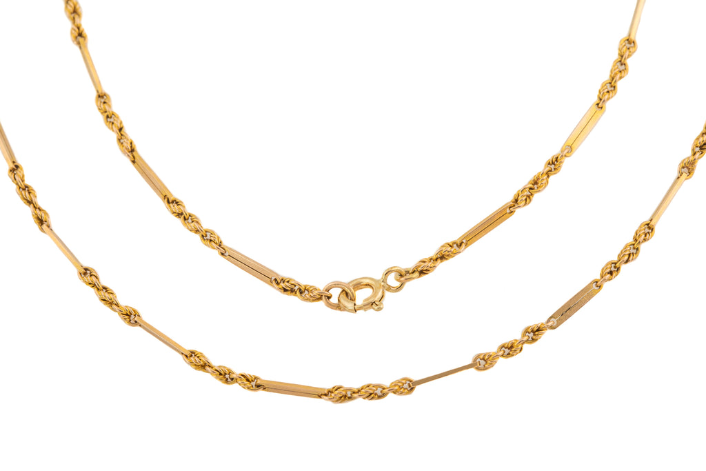 "Victorian Gold Fancy Bar Knot Chain, 24 & 1/4"" (8.2g)"