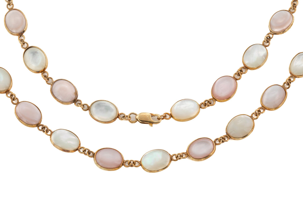 "Solid 9ct Gold 16"" Mother of Pearl Riviere Necklace"