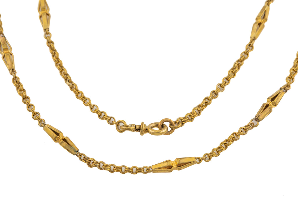 "Victorian Gold Gilt Fancy Guard Chain, 53"" (28g)"