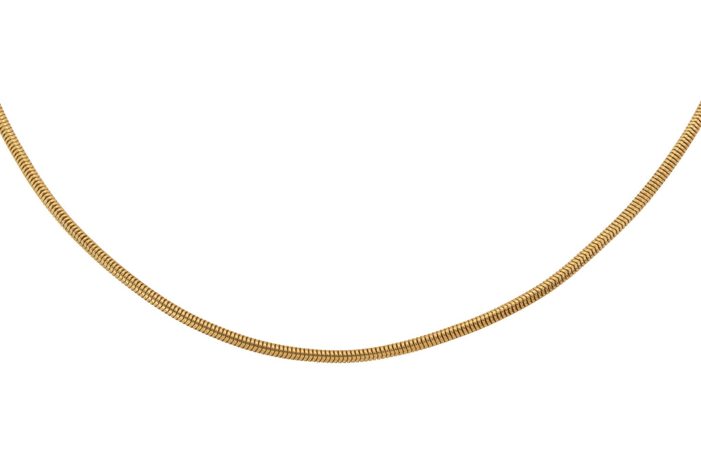 "Victorian 18ct Gold Snake Chain with Large Bolt Ring, 19 & 1/4"" (10.4g)"