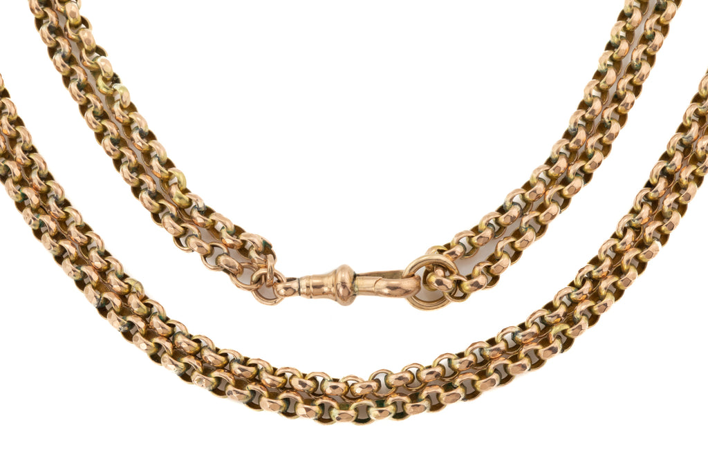 "Antique Gold Faceted Belcher Guard Chain, 56 & 1/2"" (37.8g)"