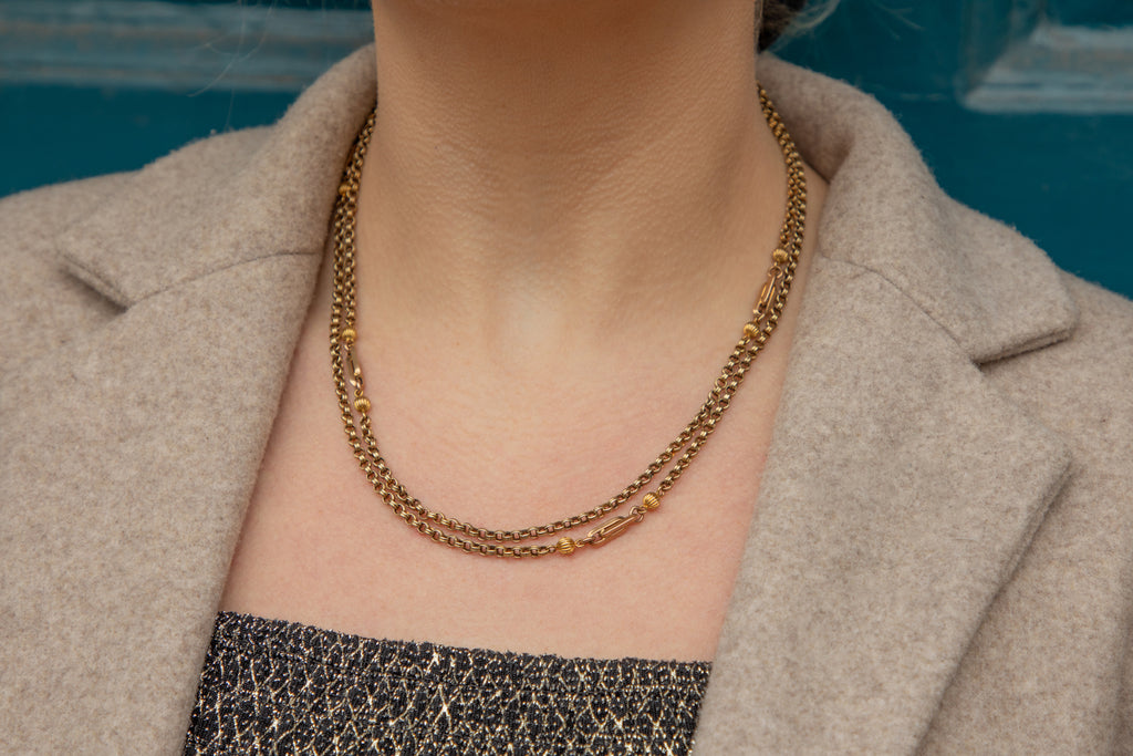 "Antique 15ct Gold Double-Strand Fancy Chain, 63"" (31.7g)."