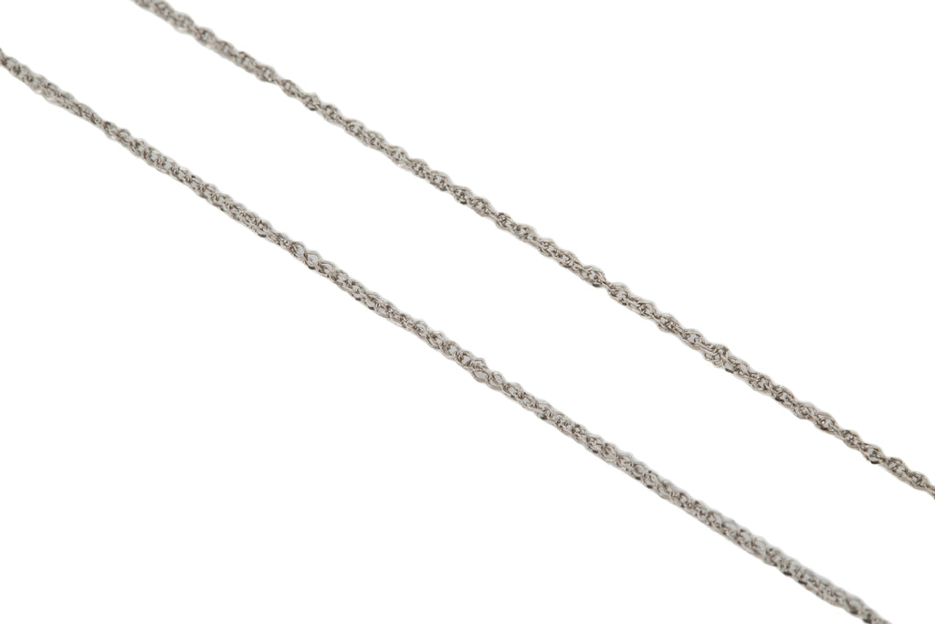 "Solid 9ct White Gold 18"" Thin Prince of Wales Chain"