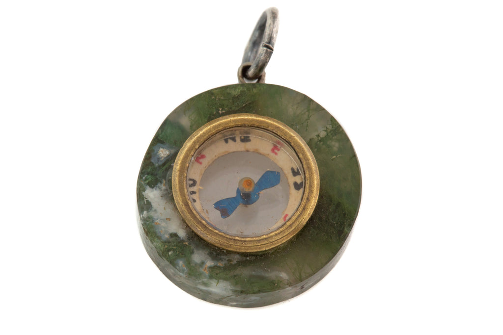 Antique Moss Agate Compass Pendant