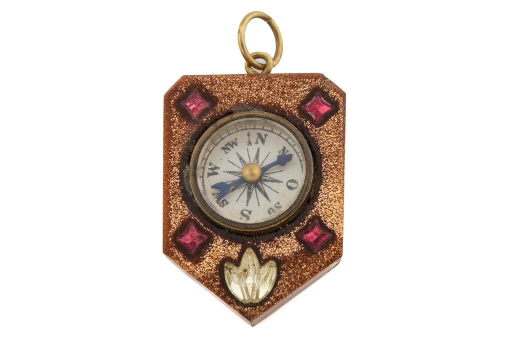 Victorian Fancy Goldstone Compass Pendant