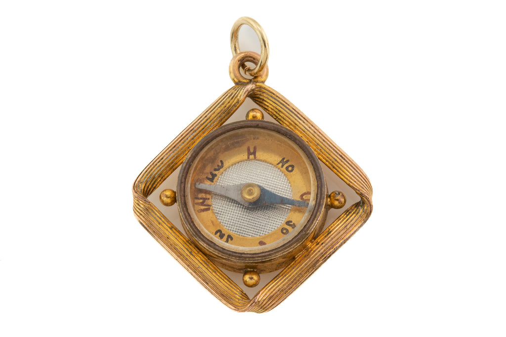 Antique German 9ct Gold Cased Compass Pendant