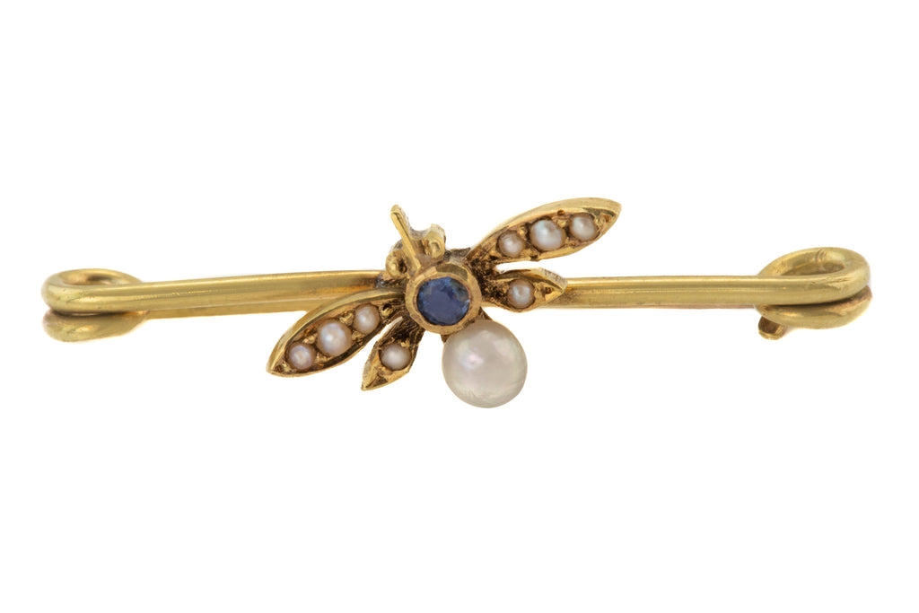 Victorian Gold Pearl Sapphire Bug Stock Pin