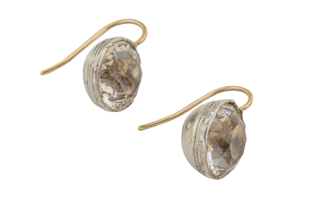 Georgian Silver Foiled Paste Earrings, with 9ct Gold Hooks