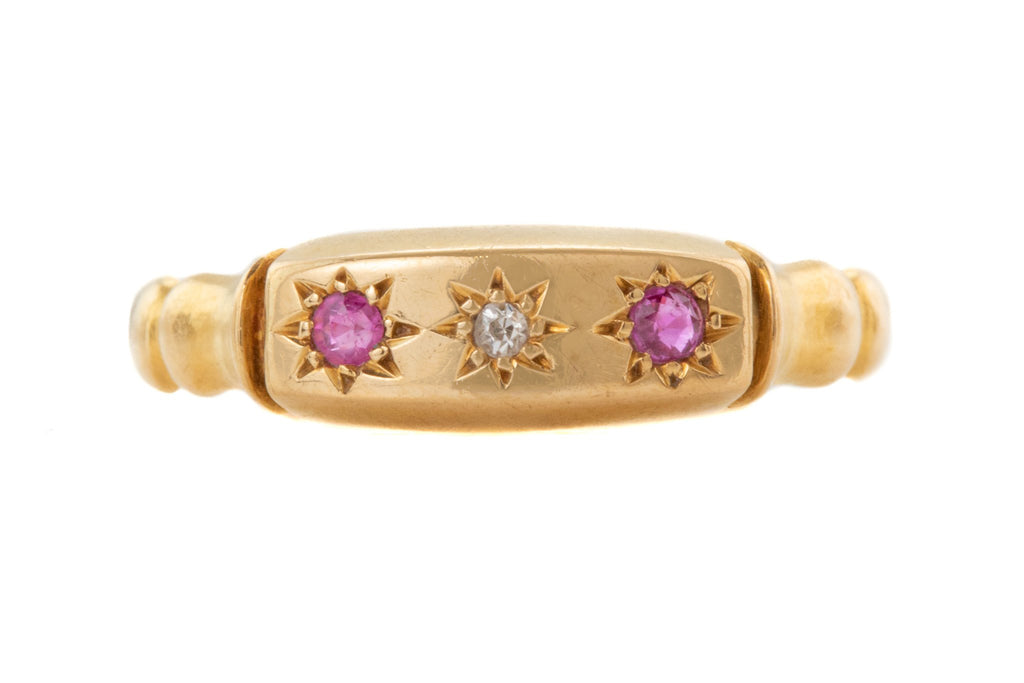 "Victorian 18ct Gold Ruby Diamond ""Gypsy"" Ring, c.1886"