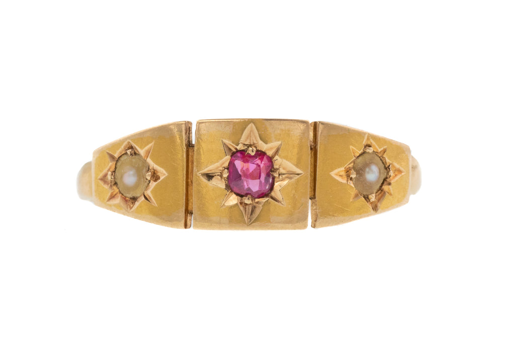 "Victorian 22ct Gold Ruby Pearl ""Gypsy"" Ring, c.1858"