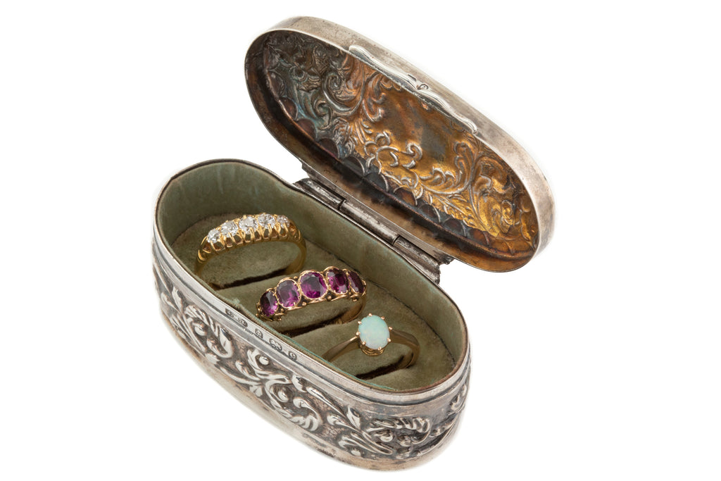 Edwardian Silver Embossed Triple Ring Box, c.1904