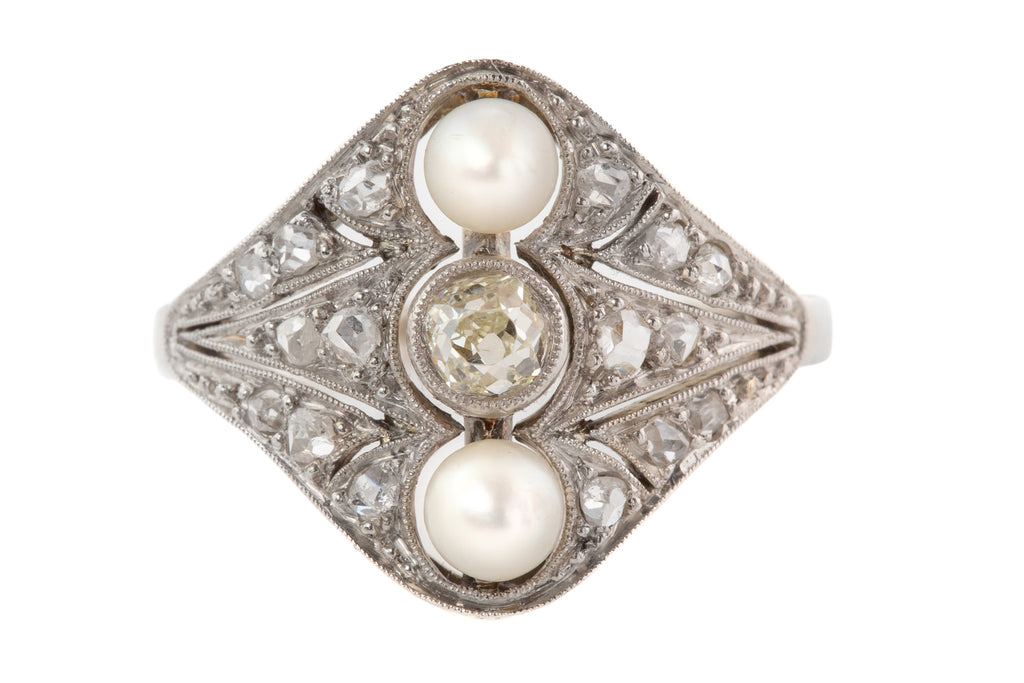 Antique 18ct White Gold Diamond Pearl Dress Ring, (0.38ct)