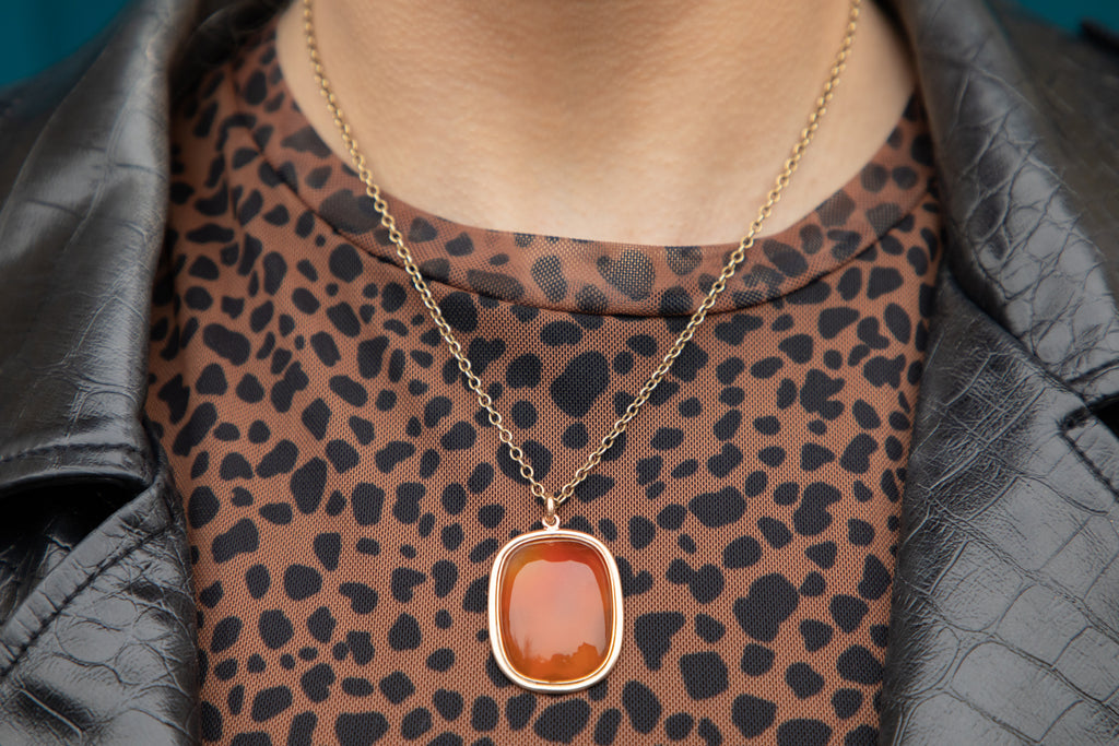 Georgian 9ct Gold Carnelian Pendant
