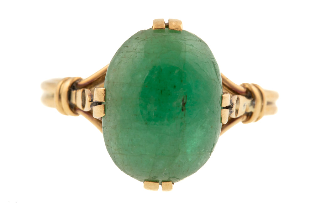 Antique 18ct Gold Emerald Cabochon Ring, (4.15ct)