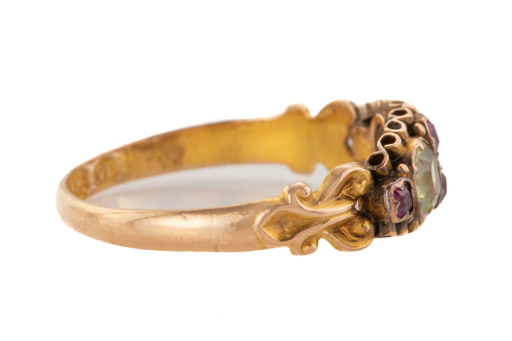 Antique 15ct Gold Ruby Chrysoberyl Ring, c.1868.