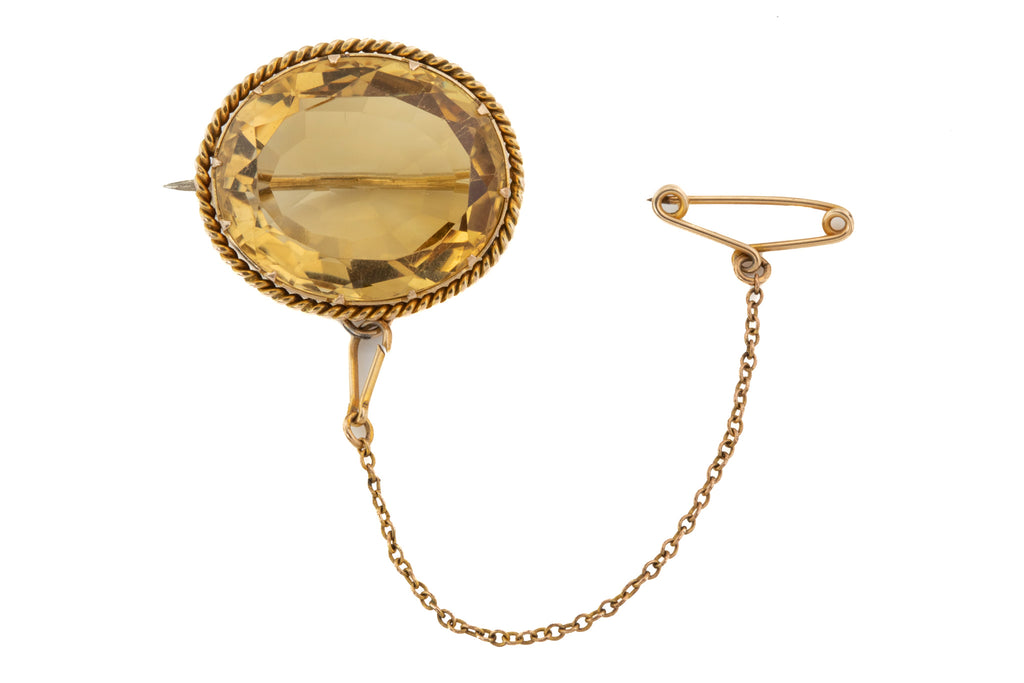 Antique 9ct Gold Citrine Brooch, (23.90ct)