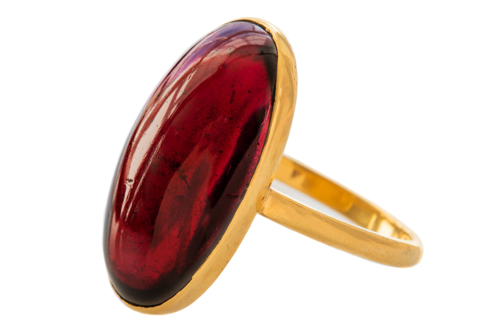 Victorian Gold Large Garnet Cabochon Ring (24.30ct)