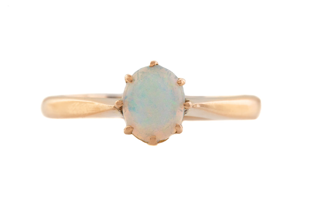Art Deco 9ct Gold Opal Solitaire Ring, (0.17ct)