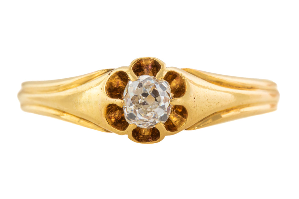 Victorian 18ct Gold Diamond Solitaire Ring, (0.18ct)