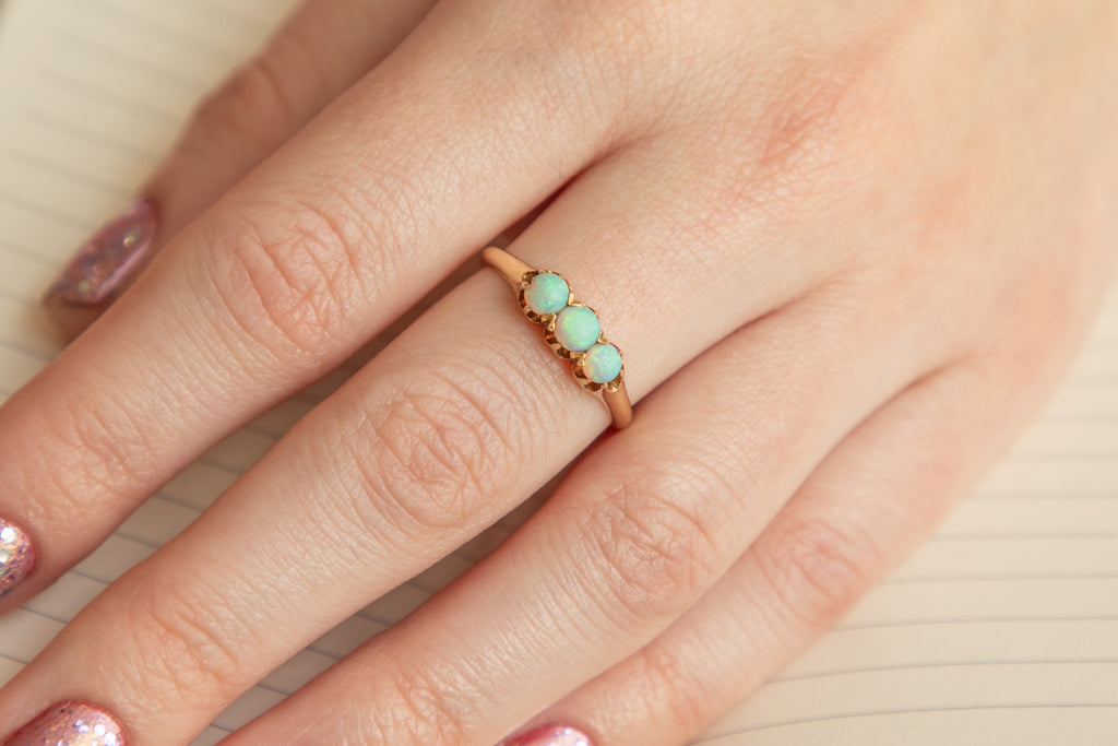 Victorian 14ct Gold Opal Trilogy Ring (0.45ct)
