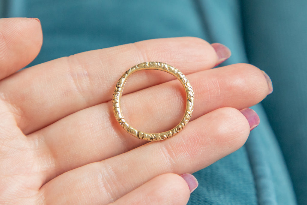 Large Georgian 15ct Gold Split Ring, (25mm)