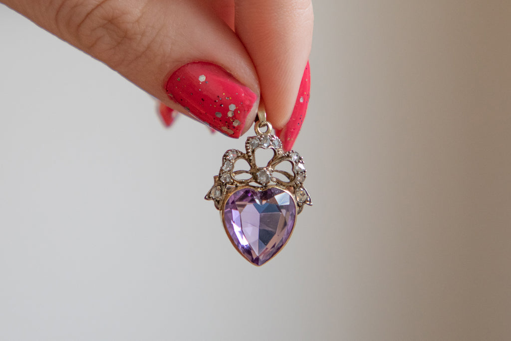 Antique 18ct Gold Amethyst Diamond Heart Pendant Brooch, (3.40ct)