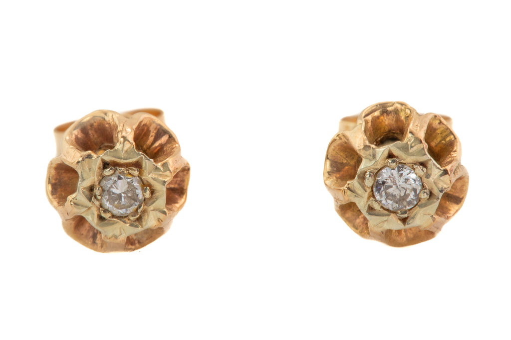 Victorian 9ct Gold Diamond Flower Stud Earrings, (0.06ct)