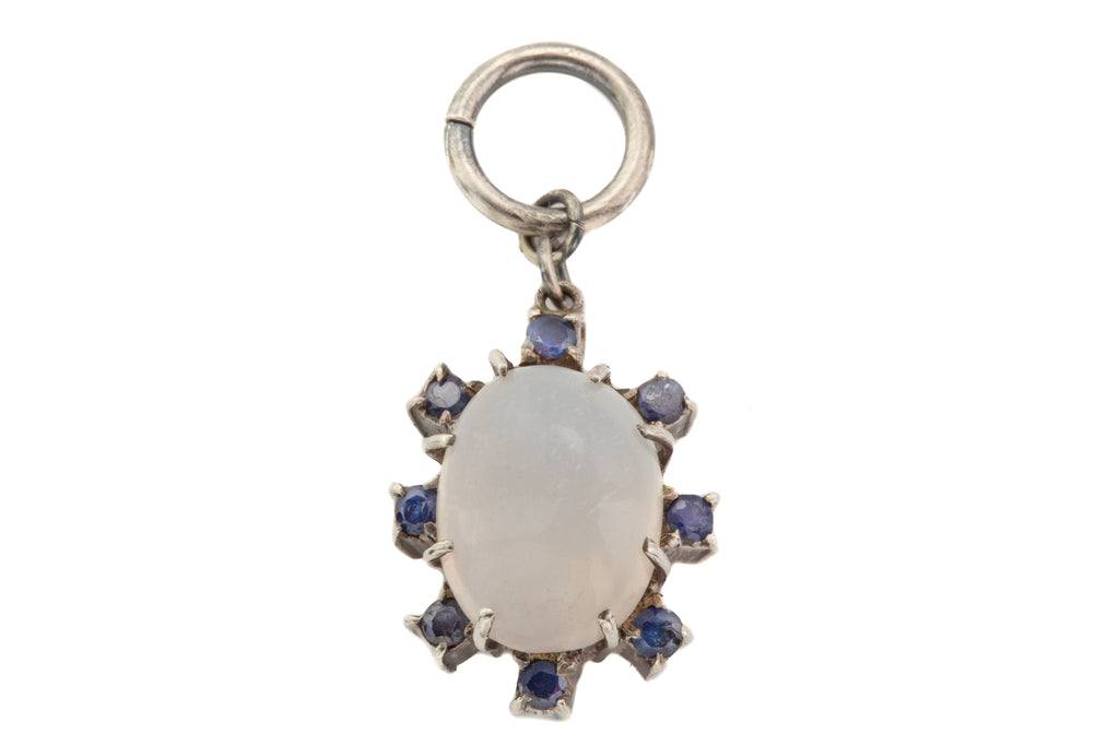 Silver Moonstone Sapphire Cluster Flower Pendant, (5.10ct)