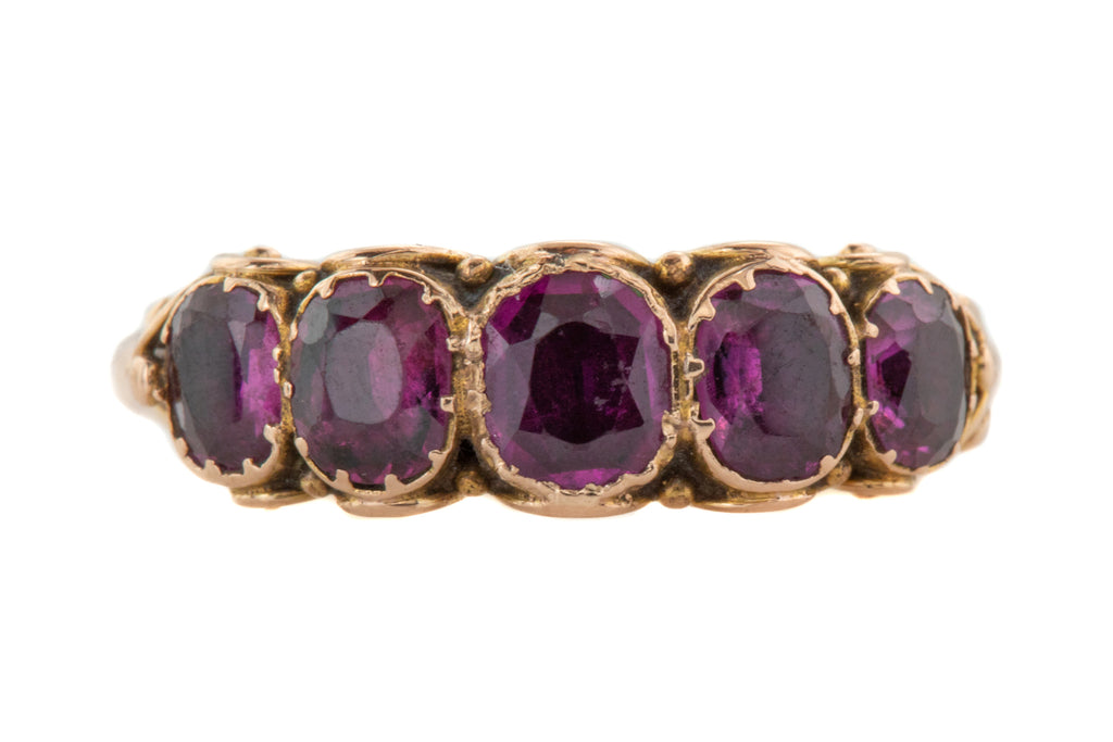 Antique 14ct Gold Amethyst Paste Half Hoop Ring