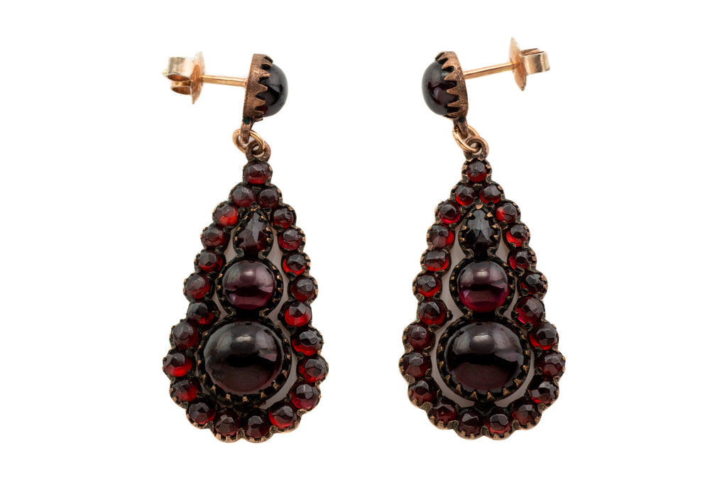 Victorian Bohemian Garnet Teardrop Cluster Earrings, (11.10ct)