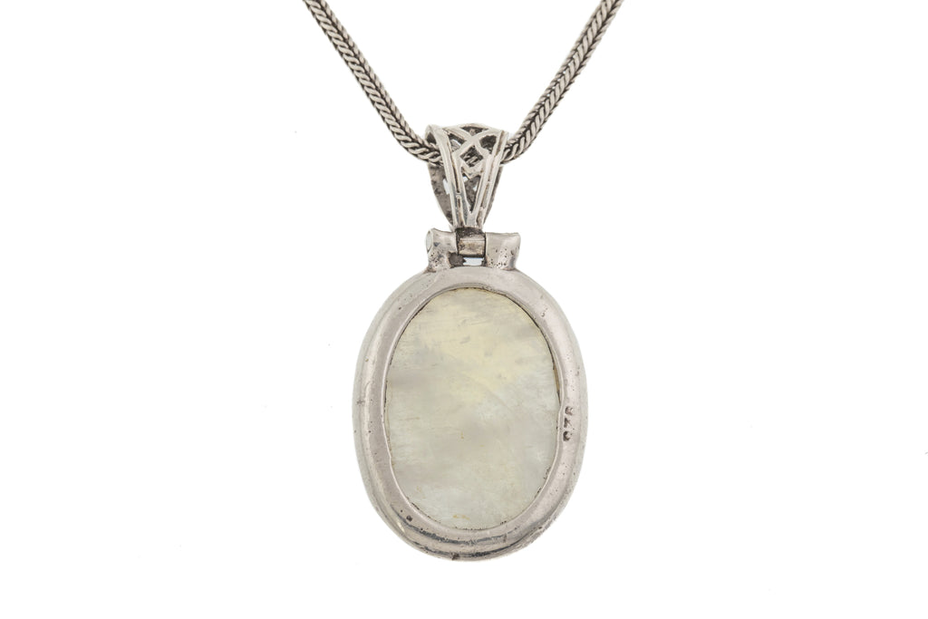 "Large Celtic Silver Labradorite Pendant (19ct), with 16"" Victorian Foxtail Chain"