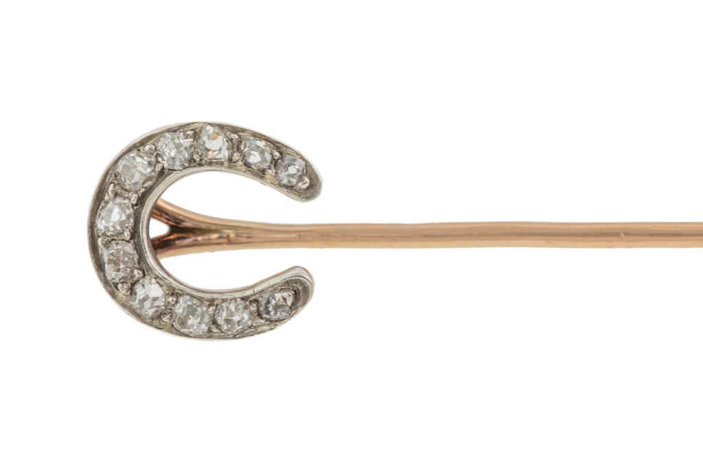 Antique 18ct Gold Diamond Horseshoe Stickpin ( 0.17ct)