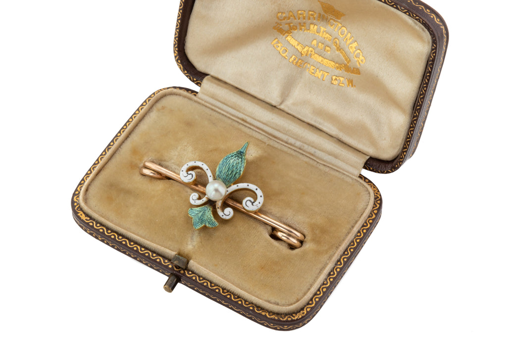 Antique Gold Enamel Fleur De Lys Pearl Brooch, with Original Box
