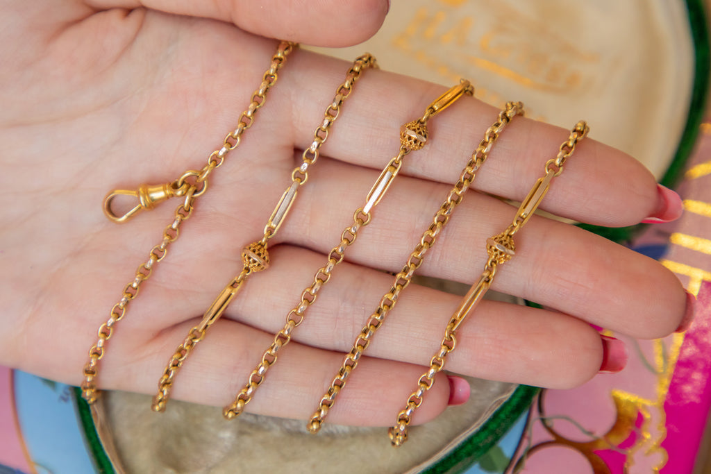 "Antique 15ct Gold Fancy ""Ball and Tether"" Link Chain, 54"" (21.5g)"