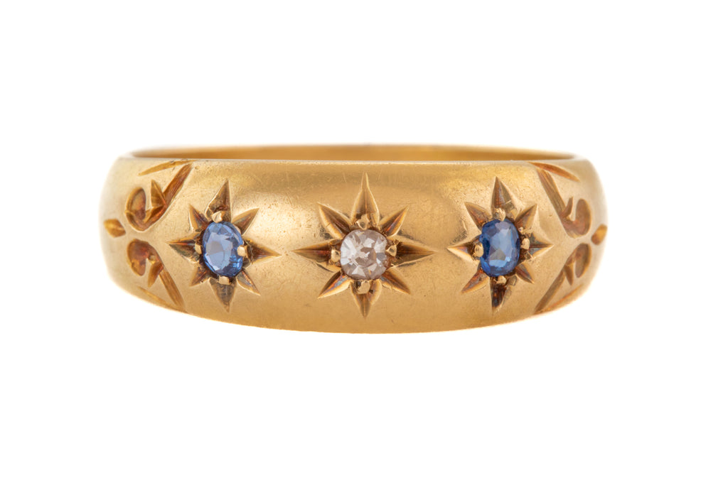 "Edwardian 18ct Gold Sapphire Diamond Star-Set ""Gypsy"" Ring"