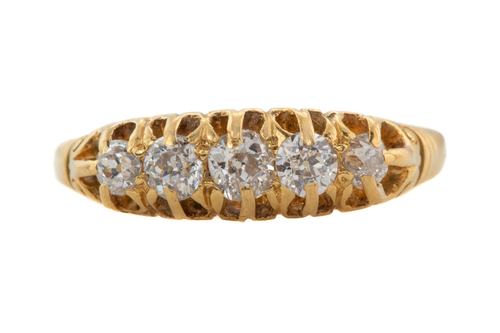 Victorian 18ct Gold Old Cut Diamond Five Stone Ring, 0.50ct