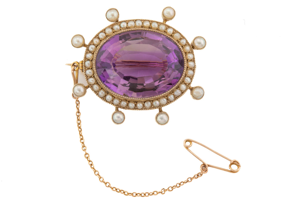 Large Victorian Gold Amethyst Pearl Cluster Brooch, (22.60ct)