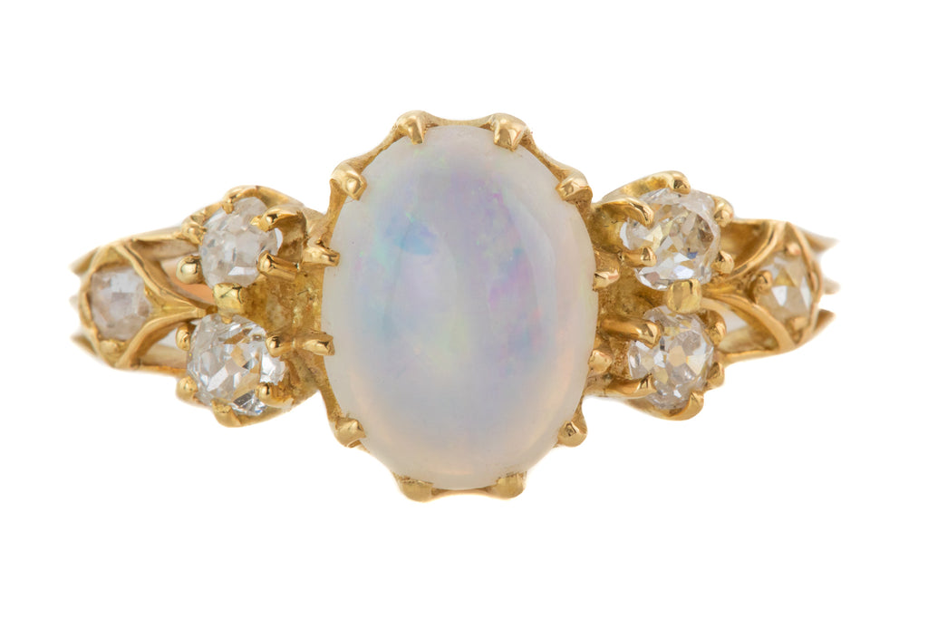 Antique 18ct Gold Opal Diamond Ring, (1.20ct)