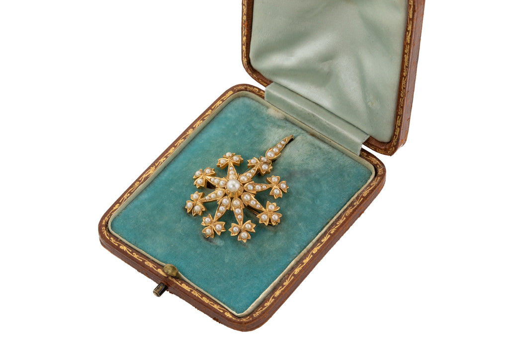 Victorian 15ct Gold Pearl Starburst Pendant Brooch, with Original Box