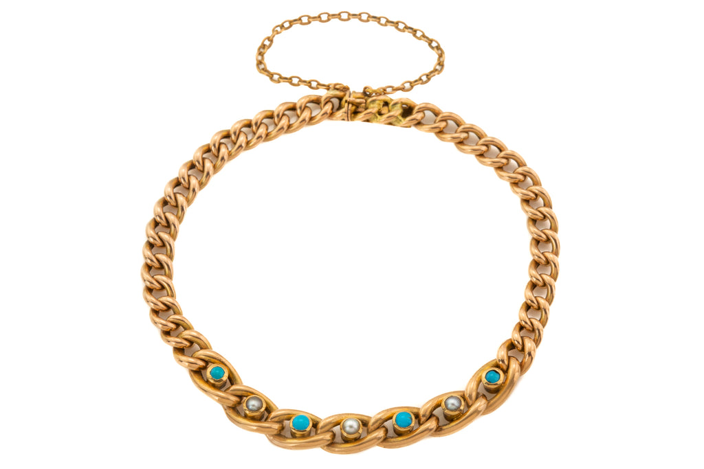 "Antique 15ct Gold Turquoise Pearl Bracelet, 7 & 1/2"" (10g)"