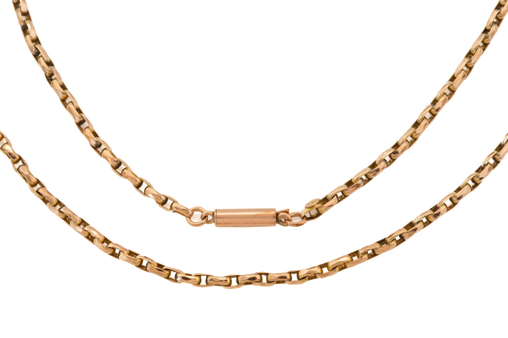 "Antique 9ct Gold Faceted Rectangular Link Chain, 18"" (5.6g)"