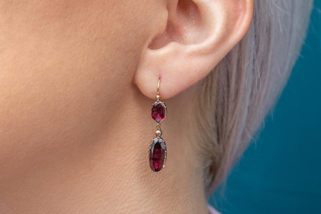 Georgian Gold Garnet Double Drop Earrings, (2.60ct)