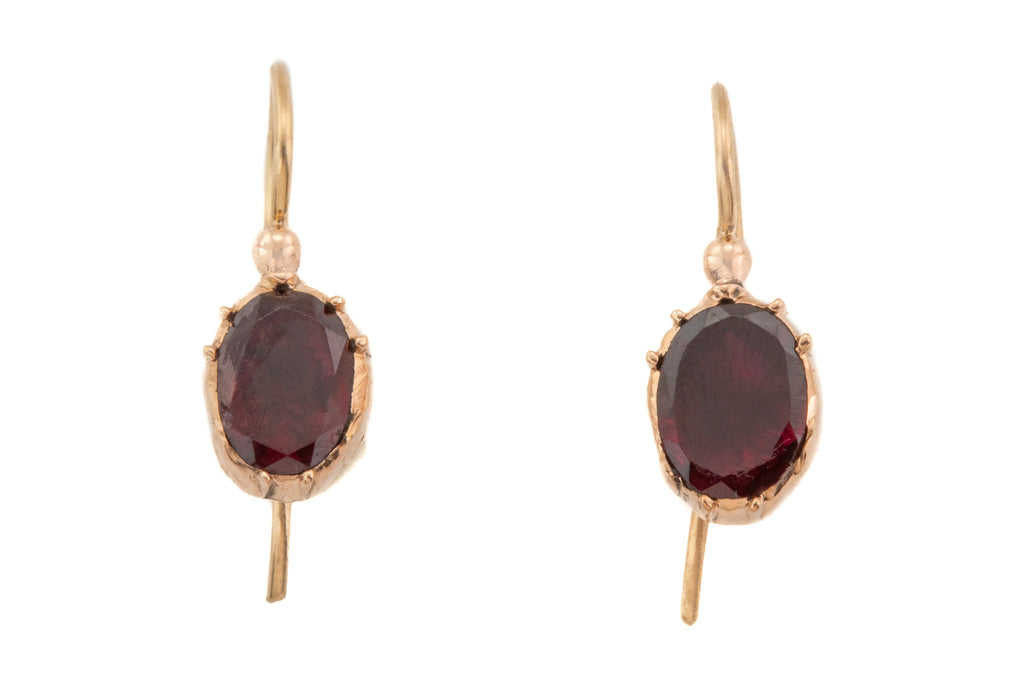 Georgian Gold Flat Cut Garnet Earrings (0.80ct), with 15ct Gold Hooks