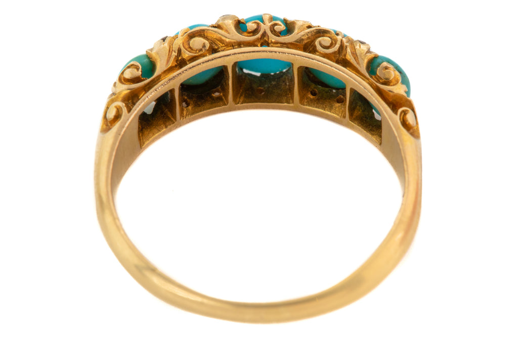 Victorian 18ct Gold Turquoise Diamond Five Stone Ring
