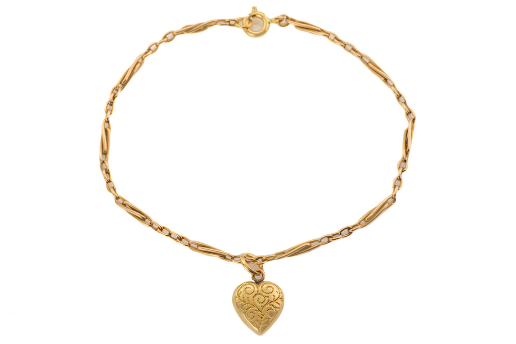 Antique 15ct Gold Twisted Paperclip Bracelet & Heart Charm, 7 & 3/4""