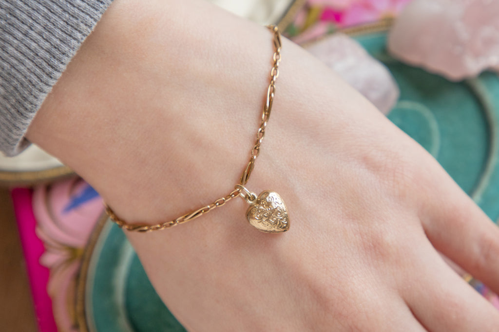 Victorian 15ct Gold Paperclip Bracelet with Heart Charm, 7&1/2""
