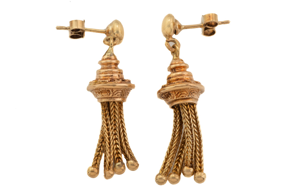 Antique 9ct Gold Tassel Drop Earrings